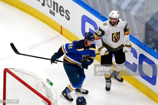 Alex Tuch of the Vegas Golden Knights celebrates after scoring a goal against the St. Louis Blues during the second period in a Western Conference...