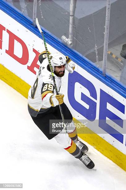 Alex Tuch of the Vegas Golden Knights celebrates after scoring a goal against the Vancouver Canucks during the first period in Game Three of the...