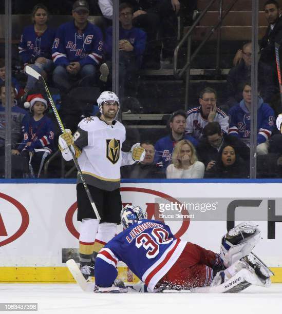 Alex Tuch of the Vegas Golden Knights celebrates his game winning goal at 211 of overtime against Henrik Lundqvist of the New York Rangers at Madison...