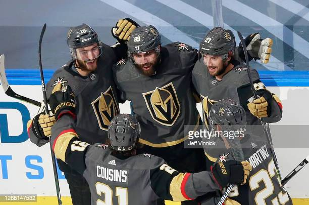 Alex Tuch of the Vegas Golden Knights celebrates his goal against the Vancouver Canucks at 16:34 of the second period in Game One of the Western...