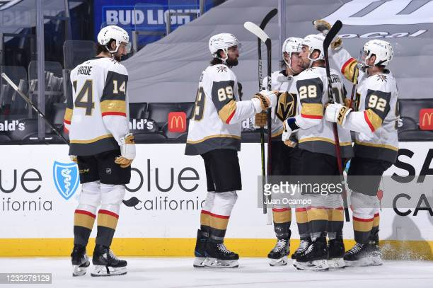 Alex Tuch of the Vegas Golden Knights celebrates his goal with teammates during the second period against the Los Angeles Kings at STAPLES Center on...