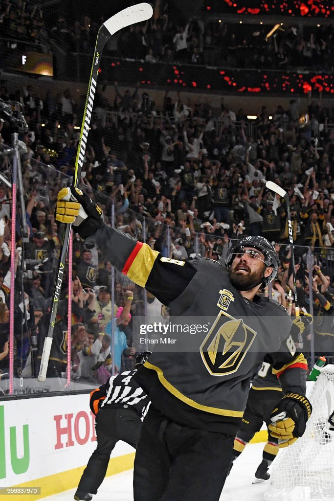 Alex Tuch #89 of the Vegas Golden Knights celebrates his second-period goal against the Winnipeg Jets in Game Three of the Western Conference Finals during the 2018 NHL Stanley Cup Playoffs at T-Mobile Arena on May 16, 2018 in Las Vegas, Nevada.