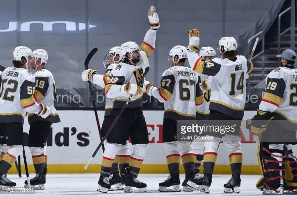 Alex Tuch of the Vegas Golden Knights celebrates their victory with teammates during the third period against the Los Angeles Kings at STAPLES Center...