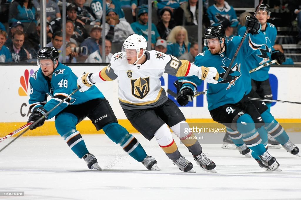 Alex Tuch #89 of the Vegas Golden Knights chases after the puck with Tomas Hertl #48 and Mikkel Boedker #89 of the San Jose Sharks in Game Four of the Western Conference Second Round during the 2018 NHL Stanley Cup Playoffs at SAP Center on May 2, 2018 in San Jose, California.