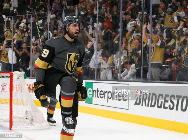 Alex Tuch of the Vegas Golden Knights reacts after scoring a second-period goal against the Minnesota Wild in Game Two of the First Round of the 2021...