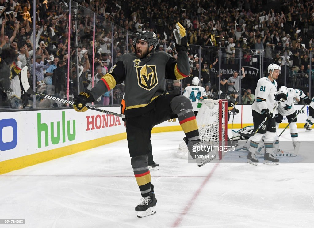 Alex Tuch #89 of the Vegas Golden Knights reacts after scoring a power-play goal against the San Jose Sharks in the second period of Game Five of the Western Conference Second Round during the 2018 NHL Stanley Cup Playoffs at T-Mobile Arena on May 4, 2018 in Las Vegas, Nevada.
