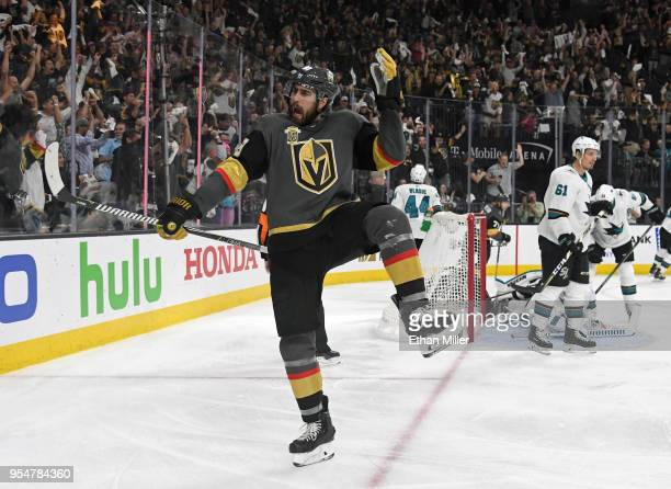 Alex Tuch of the Vegas Golden Knights reacts after scoring a power-play goal against the San Jose Sharks in the second period of Game Five of the...