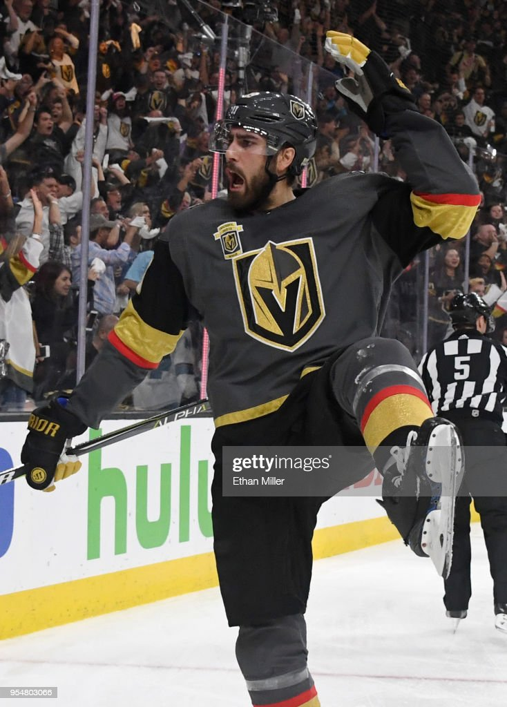 Alex Tuch #89 of the Vegas Golden Knights reacts after scoring a power-play goal against the San Jose Sharks in the second period of Game Five of the Western Conference Second Round during the 2018 NHL Stanley Cup Playoffs at T-Mobile Arena on May 4, 2018 in Las Vegas, Nevada. The Golden Knights won 5-3.