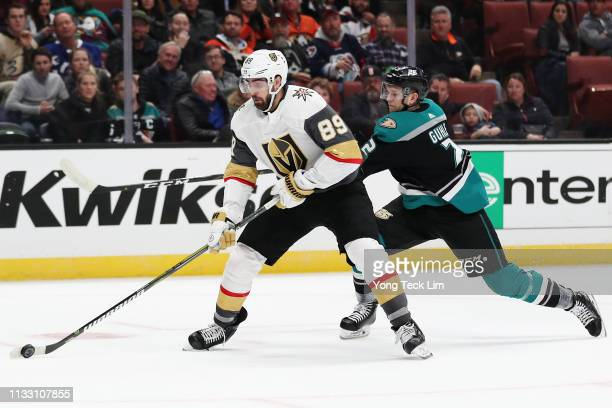 Alex Tuch of the Vegas Golden Knights scores a goal past Brendan Guhle of the Anaheim Ducks during the second period at Honda Center on March 01 2019...