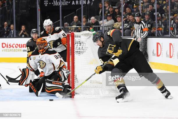 Alex Tuch of the Vegas Golden Knights shoots the puck during the third period against the Anaheim Ducks at TMobile Arena on November 14 2018 in Las...