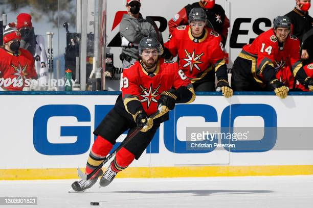 Alex Tuch of the Vegas Golden Knights skates with the puck against the Colorado Avalanche during the 'NHL Outdoors At Lake Tahoe' at the Edgewood...