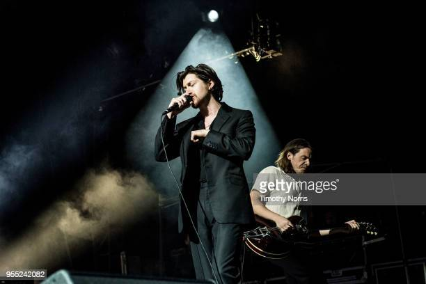 Alex Turner and Jamie Cook of Arctic Monkeys perform at Hollywood Forever on May 5 2018 in Hollywood California