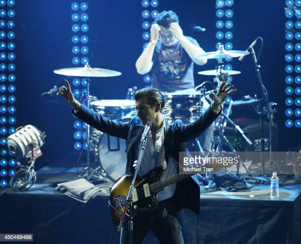 Alex Turner and Matt Helders of Arctic Monkeys perform onstage during iHeartRadio Live Series With Arctic Monkeys held at iHeartRadio Theater on June...