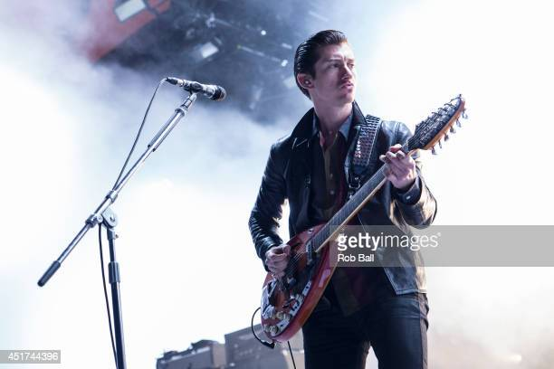 Alex Turner from Arctic Monkeys performs at the Roskilde Festival 2014 on July 5 2014 in Roskilde Denmark