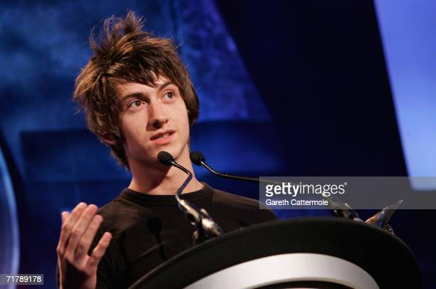 Alex Turner makes a speech after the Arctic Monkeys won the Nationwide Mercury Prize music award at Grosvenor House on September 5 2006 in London...