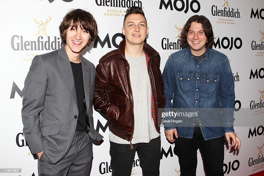 L-R Alex Turner, Matt Helders and Nick O'Malley of The Arctic Monkeys attend the Glenfiddich Mojo Honours List 2011 at The Brewery on July 21, 2011 in London, England.