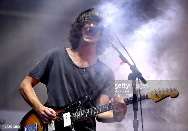 Alex Turner of Arctic Monkeys performs at the 2009 All Points West Music Arts Festival at Liberty State Park on August 1 2009 in Jersey City New...