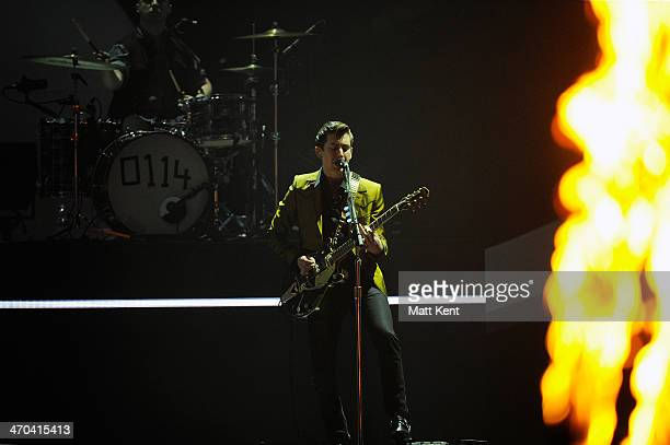 Alex Turner of Arctic Monkeys performs at The BRIT Awards 2014 at 02 Arena on February 19 2014 in London England