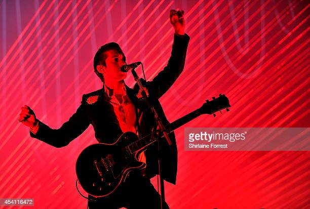 Alex Turner of Arctic Monkeys performs headlining Day 3 of the Leeds Festival at Bramham Park on August 24 2014 in Leeds England