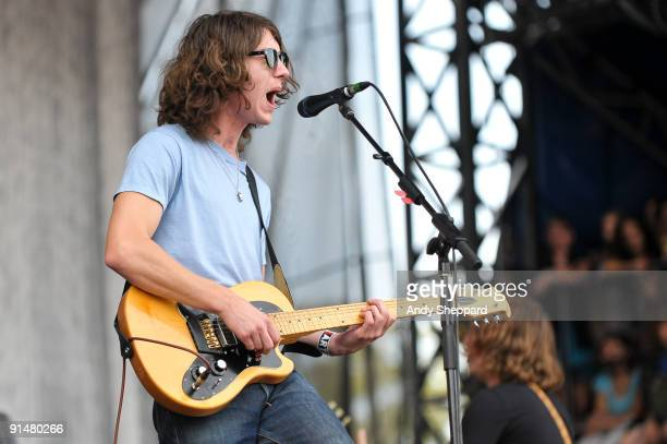 Alex Turner of Arctic Monkeys performs on stage playing an Ovation Viper guitar on Day 3 of Austin City Limits Festival 2009 at Zilker Park on...