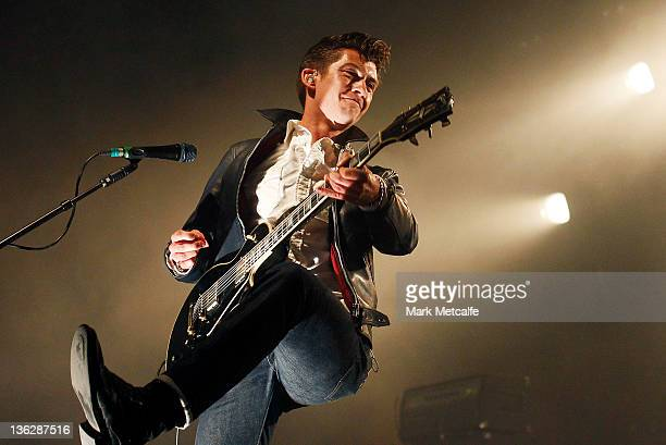 Alex Turner of the Arctic Monkeys performs on stage on day three of the Falls Music Festival on December 31 2011 in Lorne Australia