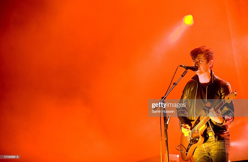Alex Turner of The Arctic Monkeys performs on the V Stage as the band headline day 1 of the V Festival at Hylands Park on August 20, 2011 in Chelmsford, England.