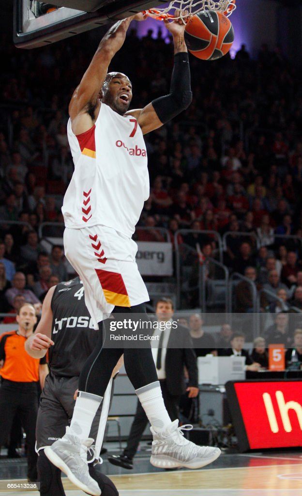 Alex Tyus, #7 of Galatasaray Odeabank Istanbul in action during the 2016/2017 Turkish Airlines EuroLeague Regular Season Round 30 game between Brose Bamberg v Galatasaray Odeabank Istanbul at Brose Arena on April 6, 2017 in Bamberg, Germany.