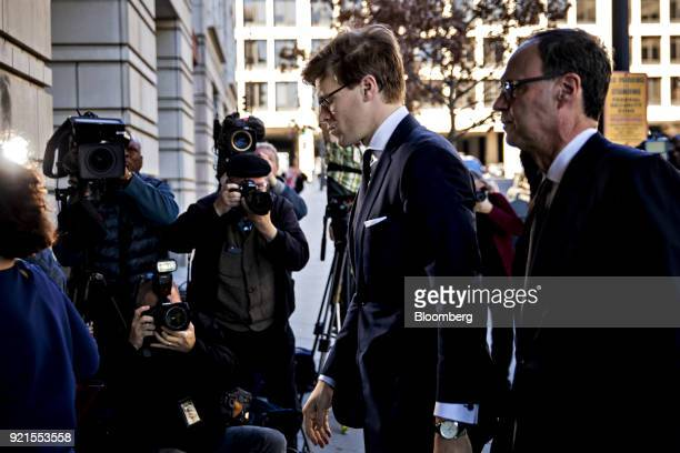 Alex Van der Zwaan former associate at Skadden Arps Slate Meagher Flom UK LLP center arrives at the Federal Court in Washington DC US on Tuesday Feb...