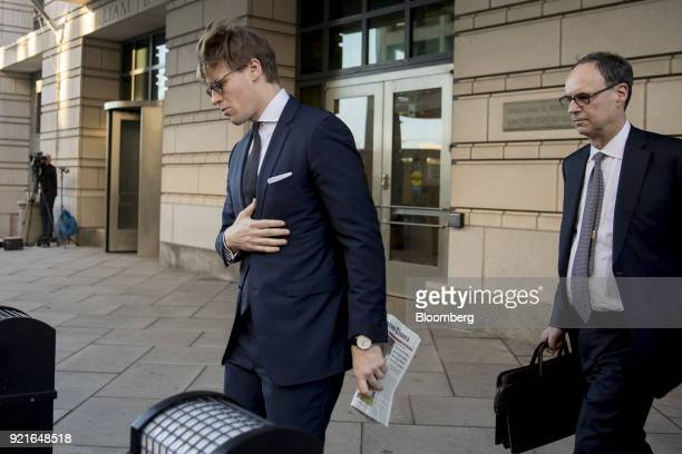 Alex Van der Zwaan former associate at Skadden Arps Slate Meagher Flom UK LLP left exits Federal Court in Washington DC US on Tuesday Feb 20 2018 Van...