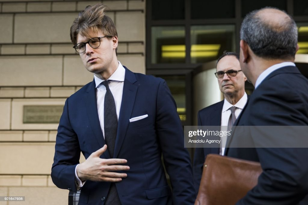 Alex Van der Zwaan leaves the U.S. District Courthouse after pleading guilty to charges of making false statements to investigators during Robert Mueller's FBI investigation into whether or not Russia interfered in the 2016 presidential elections in Washington, USA on February 20, 2018.