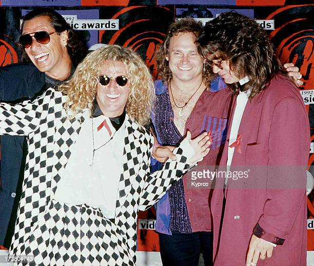 Alex Van Halen Sammy Hagar Michael Anthony and Eddie Van Halen of Van Halen at the 1992 MTV Video Music Awards 9th September 1992