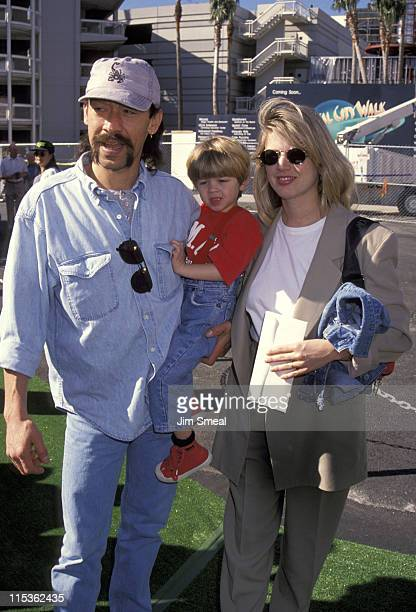 Alex Van Halen wife and son during Teenage Mutant Ninja Turtles III Premiere at Cineplex Odeon Cinemas in Universal City California United States