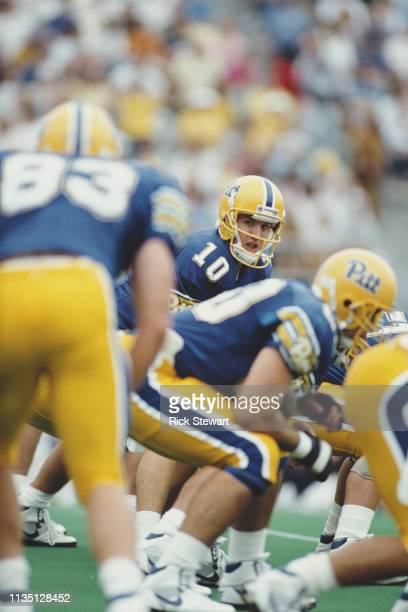 Alex Van Pelt Quarterback for the University of Pittsburgh Panthers calls the play at the snap during the NCAA Independent Conference college...