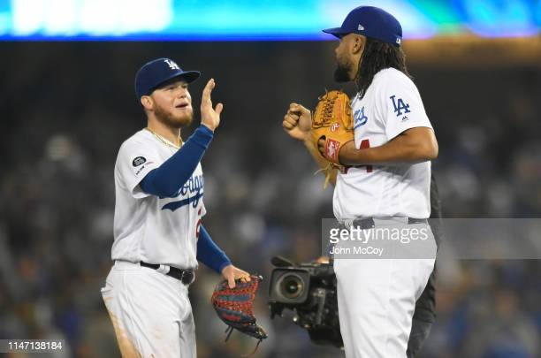 Alex Verdugo and Kenley Jansen of the Los Angeles Dodgers celebrate a 20 win over the New York Mets at Dodger Stadium on May 30 2019 in Los Angeles...