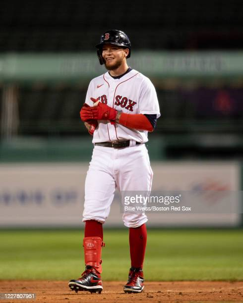 Alex Verdugo of the Boston Red Sox looks on during the fifth inning of a game against the New York Mets on July 27 2020 at Fenway Park in Boston...