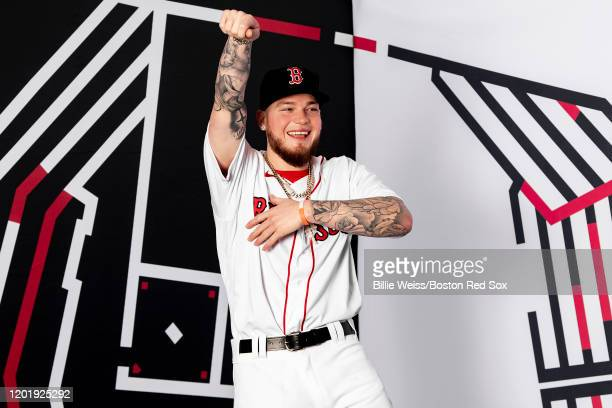 Alex Verdugo of the Boston Red Sox poses for a portrait during team photo day on February 19 2020 at jetBlue Park at Fenway South in Fort Myers...