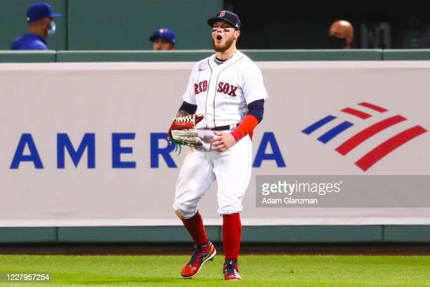 Alex Verdugo of the Boston Red Sox reacts after robbing a home run in the ninth inning of a game against the Toronto Blue Jays at Fenway Park on...