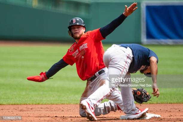 Alex Verdugo of the Boston Red Sox reacts after stealing second base during an intrasquad game during a summer camp workout before the start of the...