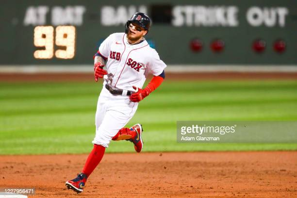 Alex Verdugo of the Boston Red Sox rounds third base after hitting a solo home run in the second inning of a game against the Toronto Blue Jays at...