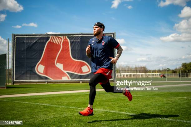 Alex Verdugo of the Boston Red Sox runs during a team workout on February 18 2020 at jetBlue Park at Fenway South in Fort Myers Florida