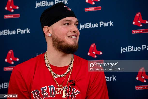Alex Verdugo of the Boston Red Sox speaks to the media during a press conference during a team workout on February 15 2020 at jetBlue Park at Fenway...