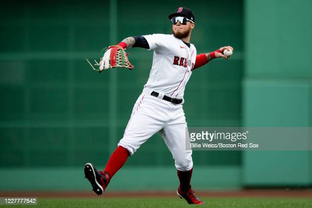 Alex Verdugo of the Boston Red Sox throws during the first inning of a game against the Baltimore Orioles on July 25 2020 at Fenway Park in Boston...