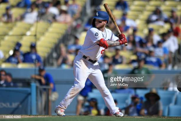 Alex Verdugo of the Los Angeles Dodgers at bat in the seventh inning against the San Diego Padres at Dodger Stadium on August 4 2019 in Los Angeles...