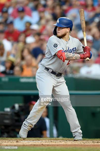 Alex Verdugo of the Los Angeles Dodgers bats against the Washington Nationals at Nationals Park on July 26 2019 in Washington DC