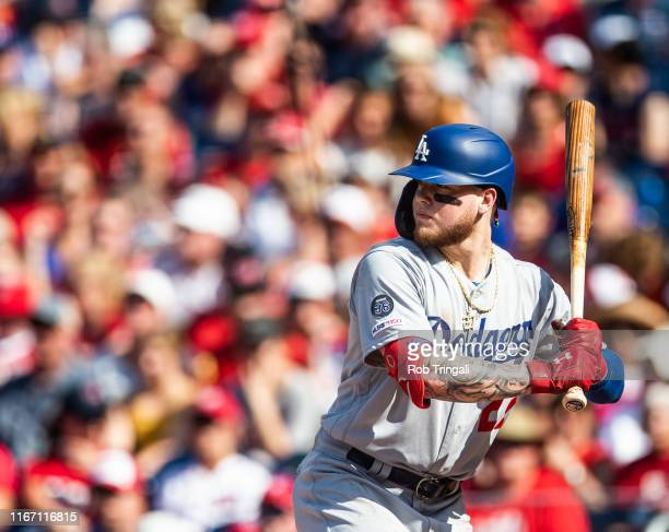 Alex Verdugo of the Los Angeles Dodgers bats during the game between the Los Angeles Dodgers and the Washington Nationals at Nationals Park on...