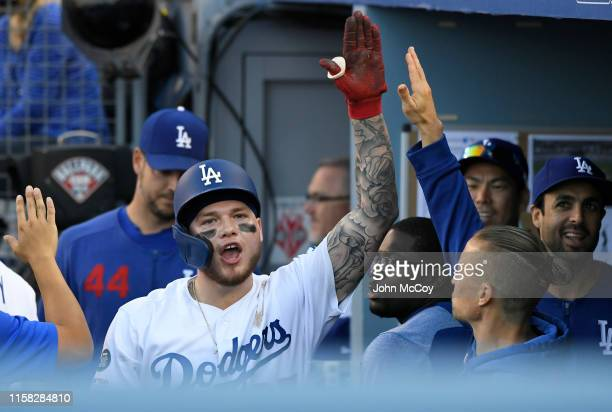Alex Verdugo of the Los Angeles Dodgers celebrates his solo home run agaisnt the Colorado Rockies in the fifth inning at Dodger Stadium on June 22...