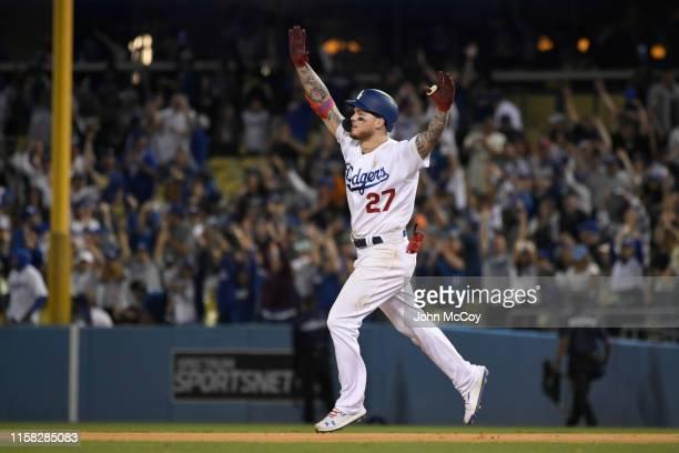 Alex Verdugo of the Los Angeles Dodgers celebrates while rounding the bases after hitting a walkoff home run in the 11th inning against the Colorado...