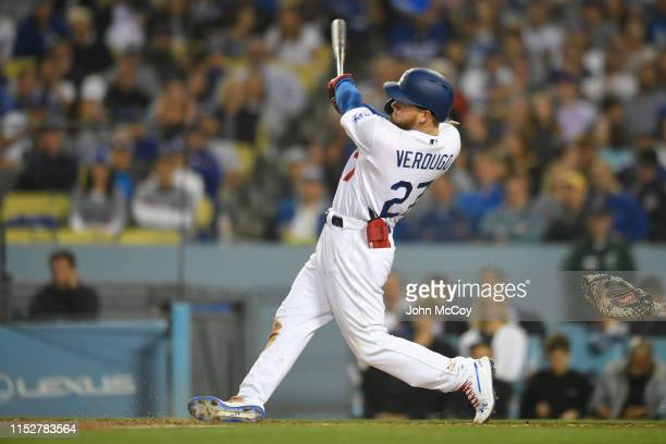 Alex Verdugo of the Los Angeles Dodgers flys out against the New York Mets in the second inning at Dodger Stadium on May 30 2019 in Los Angeles...