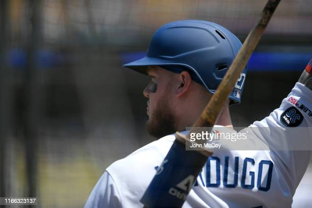 Alex Verdugo of the Los Angeles Dodgers gets ready to go to bat against the San Diego Padres at Dodger Stadium on August 4 2019 in Los Angeles...