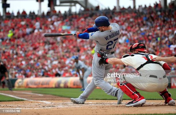 Alex Verdugo of the Los Angeles Dodgers hits a RBI double in the second inning against the Cincinnati Reds at Great American Ball Park on May 19 2019...